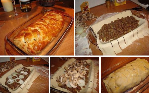 Мясной пирог на слоеном тесте рецепт
